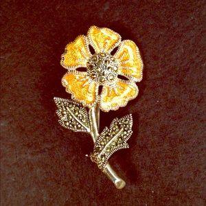 Vintage Flower Brooch Silver & Marcasite